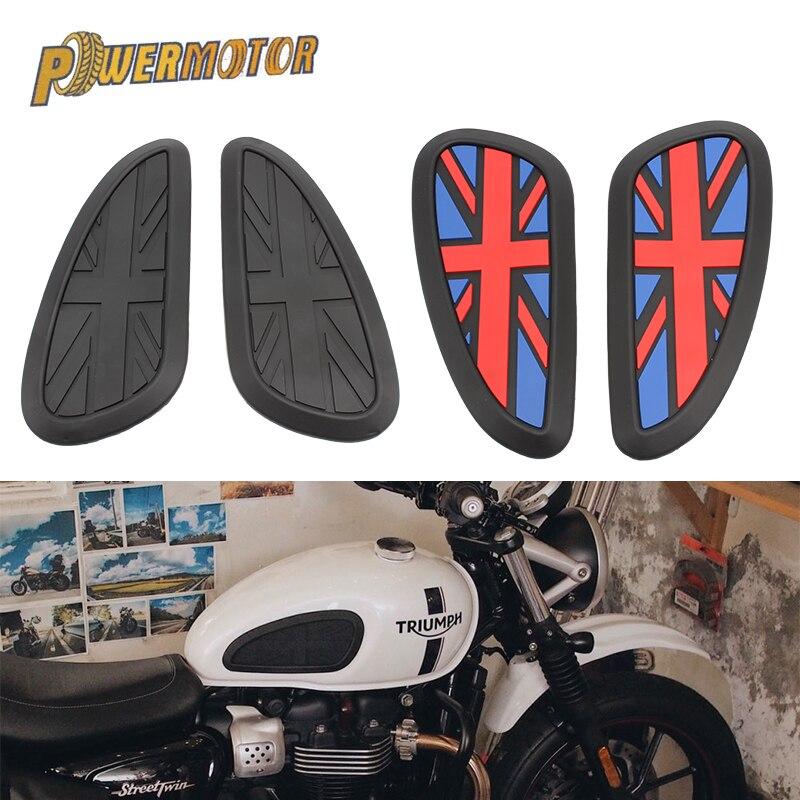 Adesivo da motocicleta anti derrapante almofada do tanque de combustível retro cafe racer tanque de combustível de borracha adesivo protetor bainha joelho tanque almofada