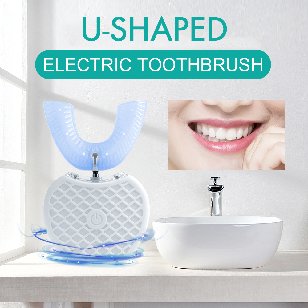 360 Degree USB Toothbrush Wireless Charging Tooth Brush Lazy Automatic Sonic Silicone Teeth Whitening Cleaning image