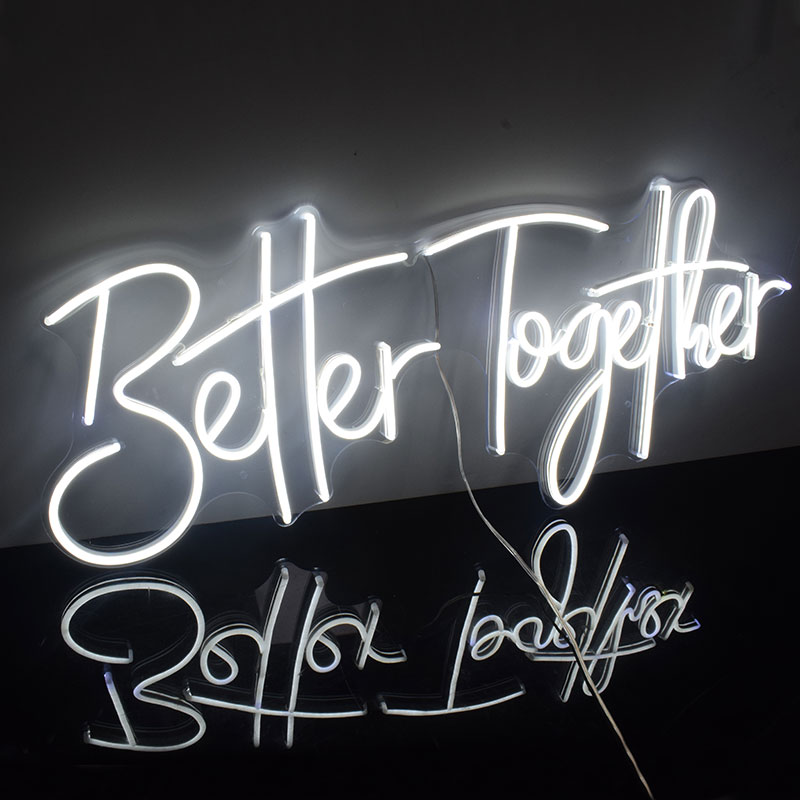 Custom Waterproof Flex Led Cool Light 12V Better Together Acrylic Neon Sign Home Room Decoration Ins Party Wedding