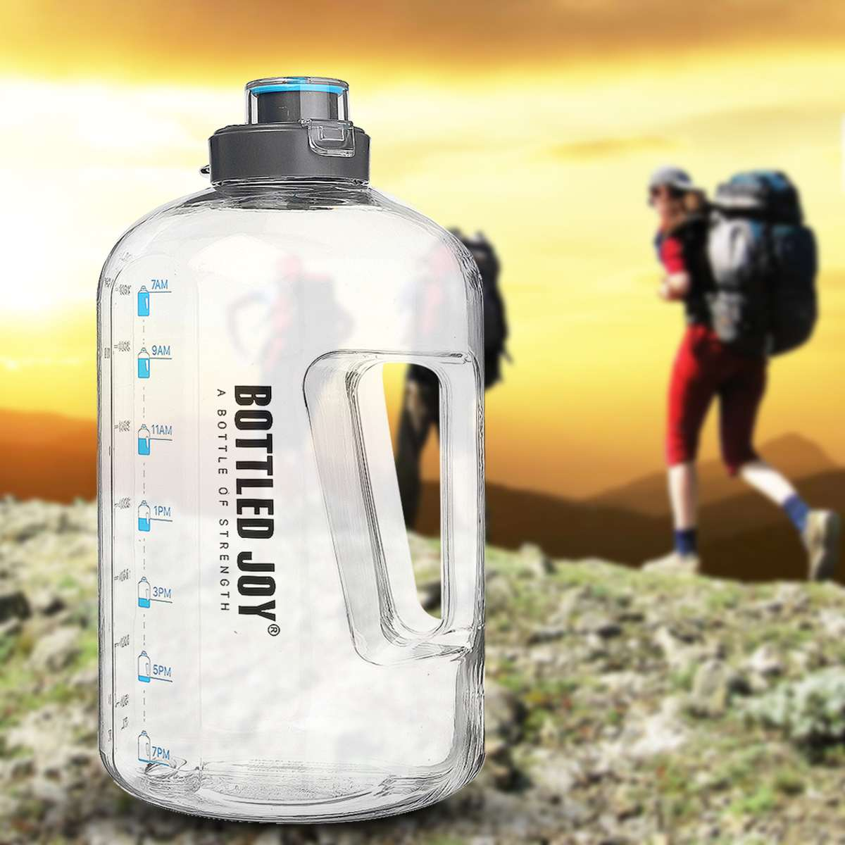 3.78L 1 Gallon Water Bottle with Stainless Steel Carabiner Clear Plastic <font><b>Drinking</b></font> Bottles Big GYM Jug Cup BPA Free GYM Sports image