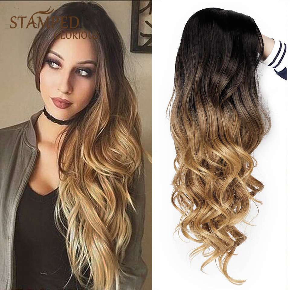 Stamped Glorious Ombre Black Blonde Wig Synthetic Wigs For Women Side Part Heat Resistant Fiber Hair Long Wavy Wig