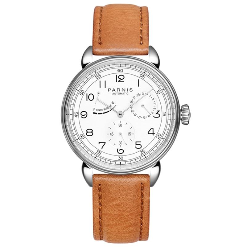 Parnis 42 Mm Men Automatic Mechanical Watch Silver Case Calendar Men Watches Watch Man Luxury Brand