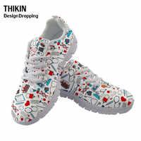 THIKIN 2020 New Nurse Pattern Women Flats Causal Sport Shoes Cartoon Pills Printed Women's White Sneakers Platform Running Shoes