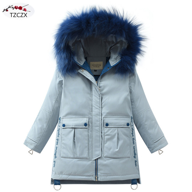 Winter Children Down jackets Hooded Fashion Fur collar solid color girl's down outerwear clothing kids jacket coats