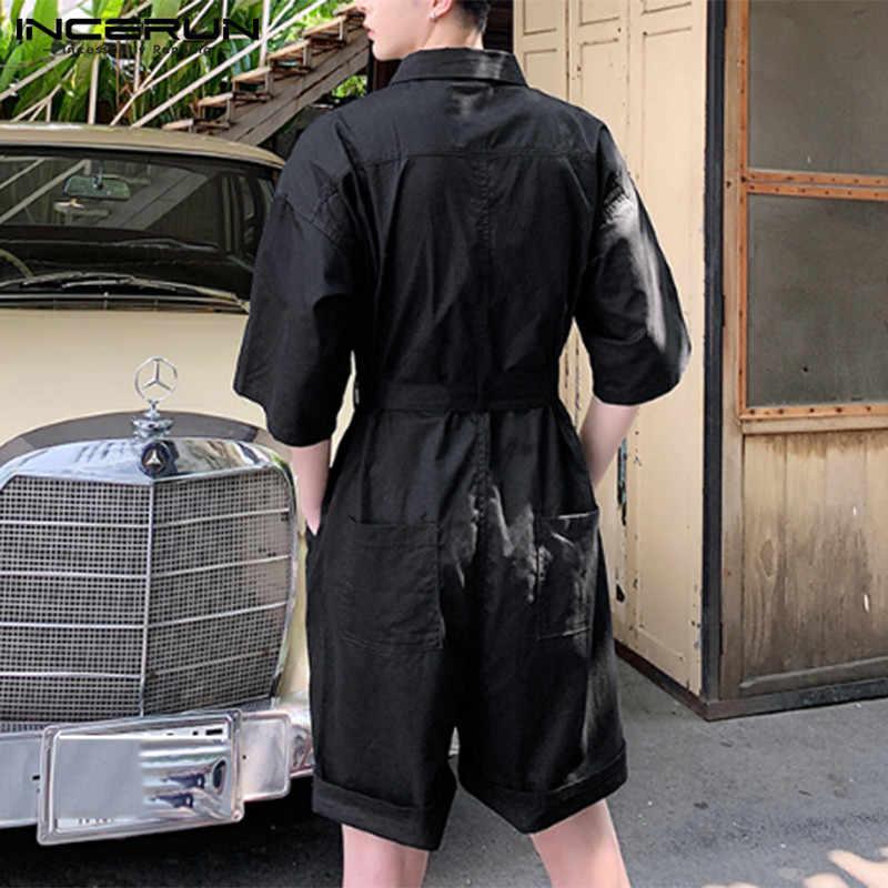 INCERUN Mode Männer Strampler Solide Halb Hülse Revers Lose Streetwear Overall Casual Punk Stil Hosen Männer Cargo Overalls S-5XL