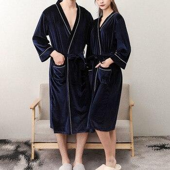 V-Neck Warm Flannel Robe Winter Couple Style Long Sleeve Bathrobe Sexy Women Men Nightgown Lounge Sl