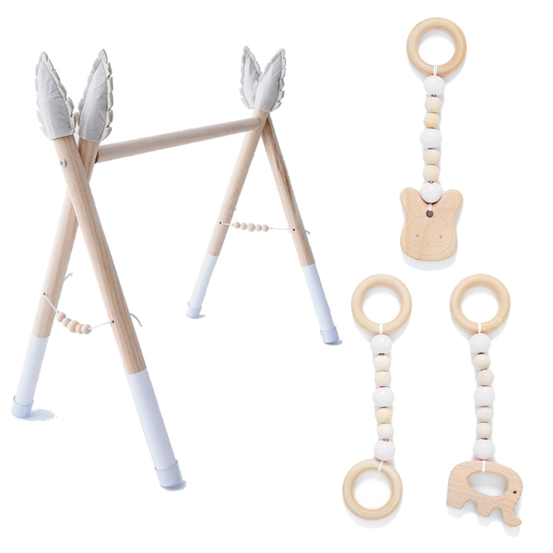 1Set Baby Gym Play Nursery Sensory Ring-pull Toy Wooden Clothes Rack Room Decor