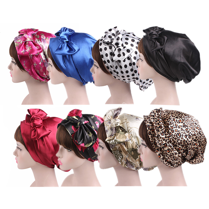 58cm Soft Silk Hair Styling Caps Women Night Sleep Shower Cap Adjustable Ladies Long Hair Care Bonnet Headwrap Hat Accessories