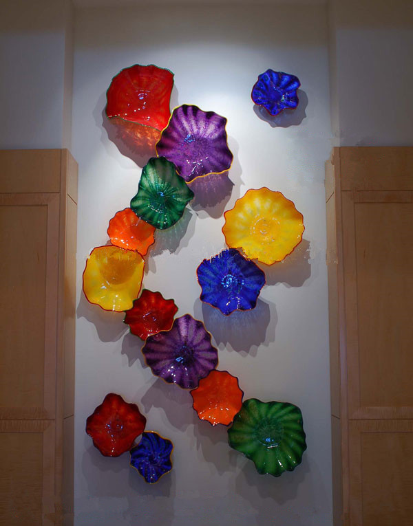 European Style Flower Art Designed wall plates Customized Handmade Blown Glass wall lamps