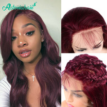 Asteria Body Wave 99J Lace Frontal Human Hair Wigs For Black Women Brazilian Burgundy Lace Frontal Wig Pre Plucked Remy Hair(China)