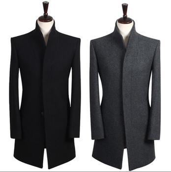 British style teens Men's winter coat stand Collar black woolen coat mens Brand essence Single-breasted mens pea coat S – 9XL