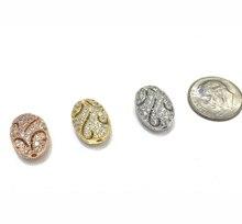 11x14mm латунь микро-проложить CZ Циркон овальные бусины Шарм бусины аксессуары для браслет ожерелье DIY ювелирные изделия делая дизайн
