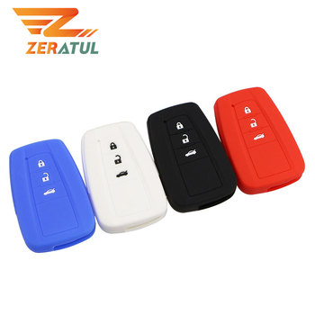 Zeratul Silicone Car-Styling 3 Buttons Remote Keychain Smart Key Case Cover Holder for Toyota Camry Prius Prado 2016 - 2020 image