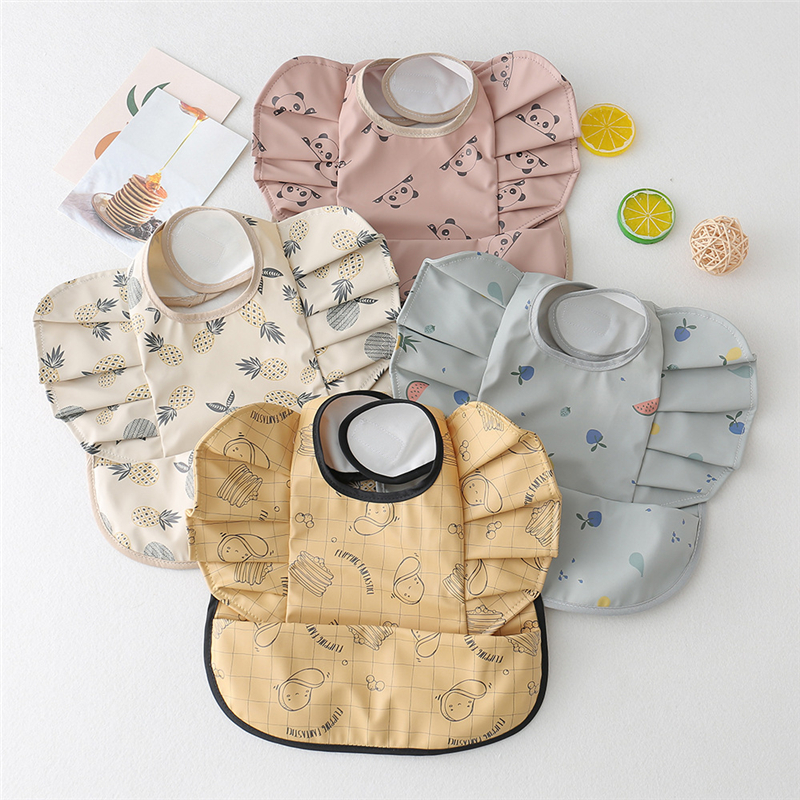 Baby Bib Waterproof Kids Toddler Soft PU Feeding Apron Art Smock Infant Boy Girl Ruffle Burp Cloth Bib Drooling Drop Shipping