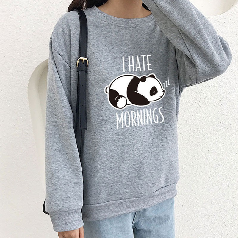 Fashion Sweatshirts Women 2019 Fall Winter Cartoon Panda Print Casual Sweatshirts Womens Velvet Hoodie Streetwear