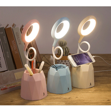 Creative pen holder student reading light USB charging clip eye protection small table lamp недорого
