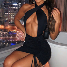 Simenual Drawstring Halter Neck Party Dresses Ruched Bandage Hot Sexy Club Night Birthday Outfit Women Skinny Mini Summer Dress