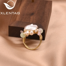XlentAg Handmade Original Natural Pink Baroque Pearl Green Stone Ring For Women Wedding Engagement Fine Jewellery GR0233