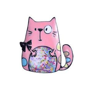 Broches de esmalte de aleación de Zinc para mujer, broche de dulce gato, joyería, Collar, ropa, accesorios, regalo para niña 2019