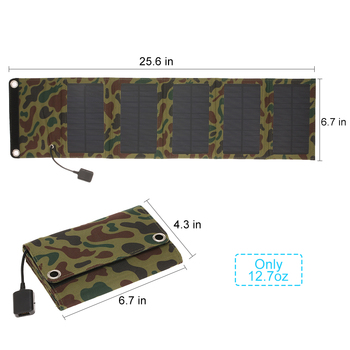 10W/5V Portable Solar Charger With USB Port Foldable 5 Solar Panel Camping Hiking Travel Compact Solar Power Phone Charger 6