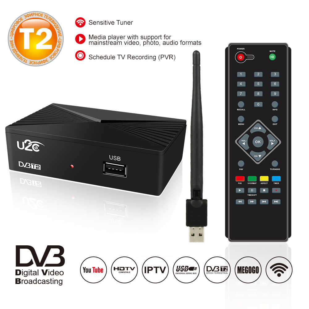 Digital TV Tuner DVB T2 Vga TDT DVB-T2 TV Rezeptor Wifi Empfänger DVBT2 DVB-C Set Top Box DVB-T H.264 AC3 dolby Youtube Full HD