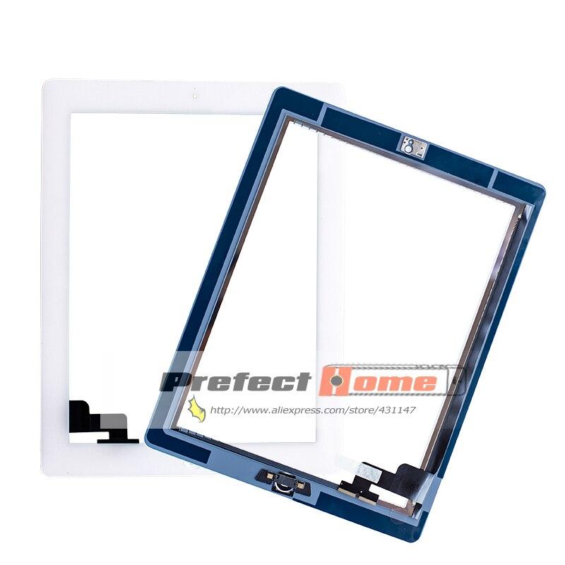 20 ピース/ロット ipad 2 のタッチスクリーンガラスデジタイザ交換 + ホームボタン + 接着剤 + カメラ + ホールド A1395 a1396 A1397 アセンブリ  グループ上の パソコン & オフィス からの タブレット液晶 & パネル の中 1