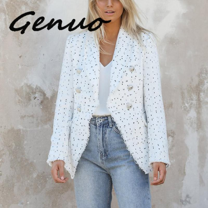 Genuo New Women Vintage Polka Dot Tweed Blazers Sport Coat Office Ladies Work Outerwear Casual Casaco Femme Casual Streetwear