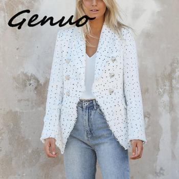 Genuo New Women Vintage Polka Dot Tweed Blazers Sport Coat Office Ladies Work Outerwear Casual Casaco Femme Streetwear