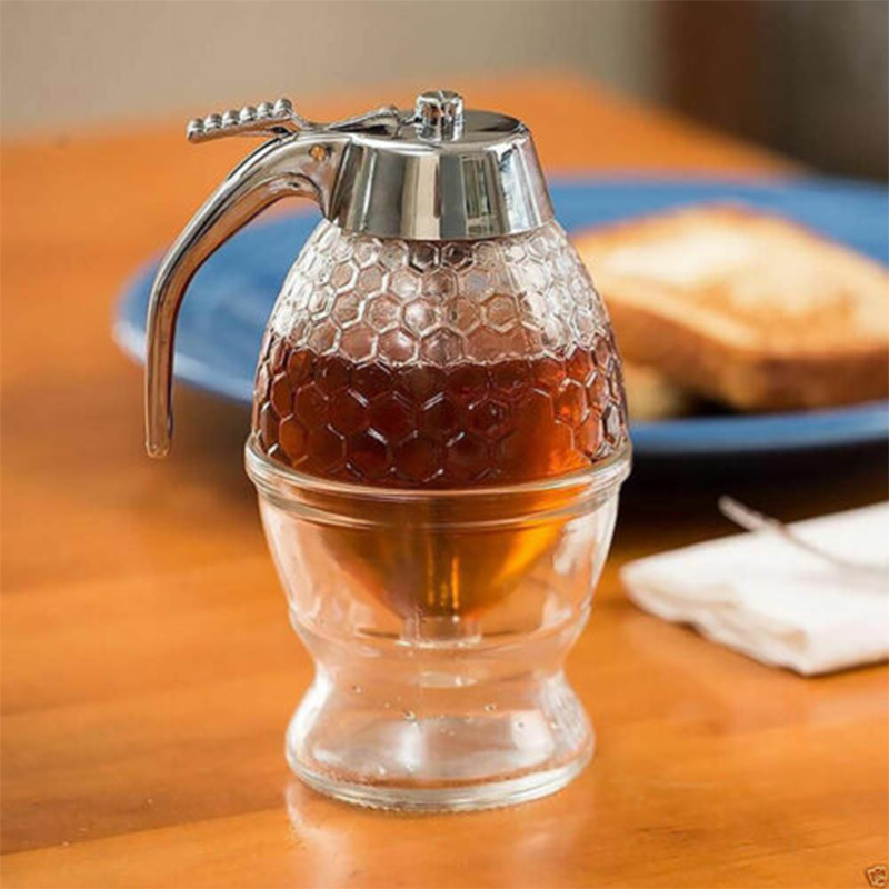 200ML Honey Juice Syrup Dispenser Practical Acrylic Pot Jar 1 Cup Acrylic Bee Hive With Trigger Stand High Quality Hot Sale 2019
