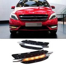 1 пара автомобильный светильник для Mercedes-Benz W246 B180 B200 2011-2014 светодиодный DRL Дневной светильник Водонепроницаемый противотуманных фар с отлож...