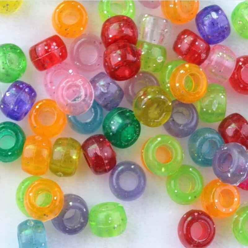 300 unids/bolsa el tamaño del orificio es de 4mm cuentas de múltiples colores lazo de telar de plástico, manualidades cuentas hacer pulseras accesorios de bricolaje F596