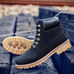 Image 4 - Coturno الأسود عالية أعلى الرجال الأحذية الجلدية الشتاء الثلوج أحذية الرجال مقاوم للماء مع الفراء الدفء الأخشاب بوت الجوارب الأحذية الأرض