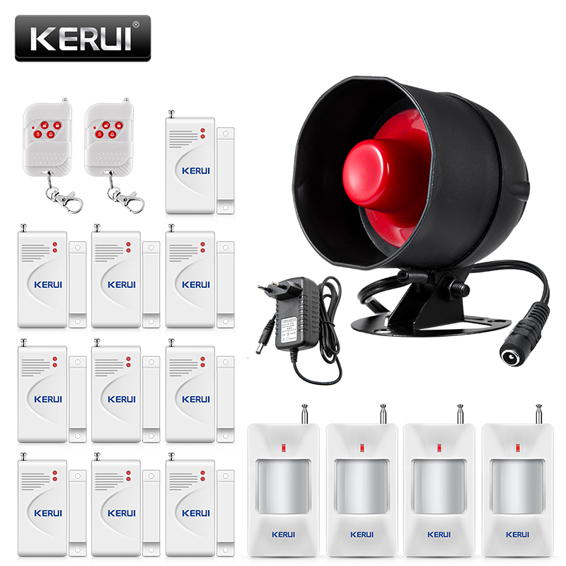 KERUI Standalone Security Alarm System Wireless Waterproof Siren Motion Sensor Local Alarm Siren Horn With up to 100db Alarm Kit