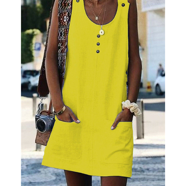 Fashion Women Sleeveless Loose Party Dress Ladies Clothes Holiday Beach Dresses Clubwear Solid Color Womens Dresses