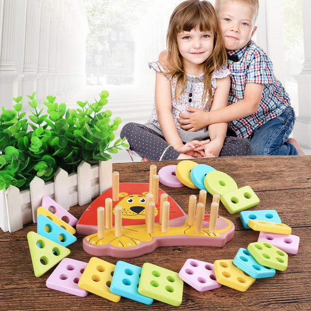 Kids Cartoon Lion Five Sets of Columns Geometric Shape Matching Game Wooden Blocks Baby Learning Educational Toys for Children