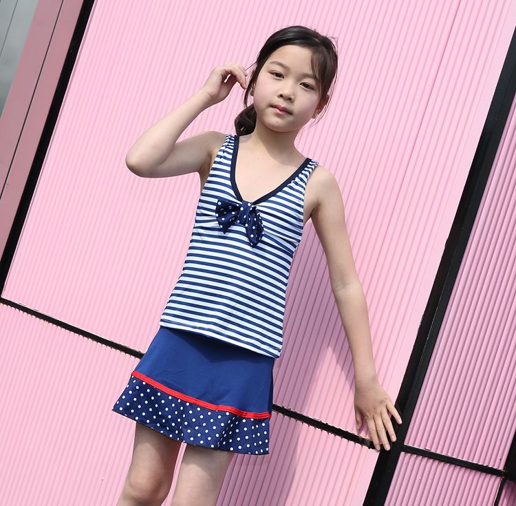 Bathing Suit GIRL'S Big Boy GIRL'S One-piece Briefs Skirt Stripes Navy Style Conservative Sports Hot Springs Swimwear