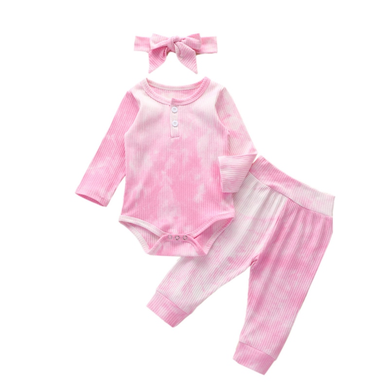 3Pcs Kid Baby Girl Boy Clothes Pajamas Tie Dye Long Sleeve Romper Top Pullover Pants Leggings Headband Autumn Outfit 0-2Y 1