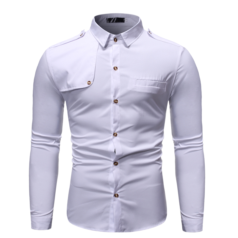 MarKyi Fashion Patchwork Military Style Dress Shirts Men Good Quality Mens Shirt Slim Fit Long Sleeve
