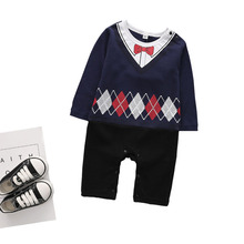 Baby Clothing Brand New Newborn Gentleman Bow Jumpsuits Outfits Toddler Kids Baby Boys Romper Clothes Long Sleeve Infant Product long sleeves baby boys infant jumpsuit summer baby clothing fashion gentleman bow triangle romper bebe newborn body baby clothes