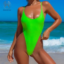 Peachtan V-neck bikini 2019 neon Green bathing suit One piece swimsuit female High cut monokini String swimwear Women bodysuit(China)