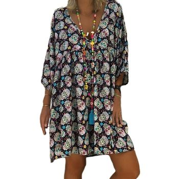Women Plus Size V-Neck 3/4 Sleeves Loose Flowy T-Shirt Dress Halloween Skull Floral Casual Flared Party Tunic Sundress S-5XL brown v neck long sleeves loose plunge t shirt dress