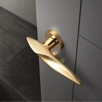 1 Set Black Zinc Alloy Door Handle European Style Interior Door Handle Simple Split Door Lock Set Golden Door Hardware/ 3 Colors