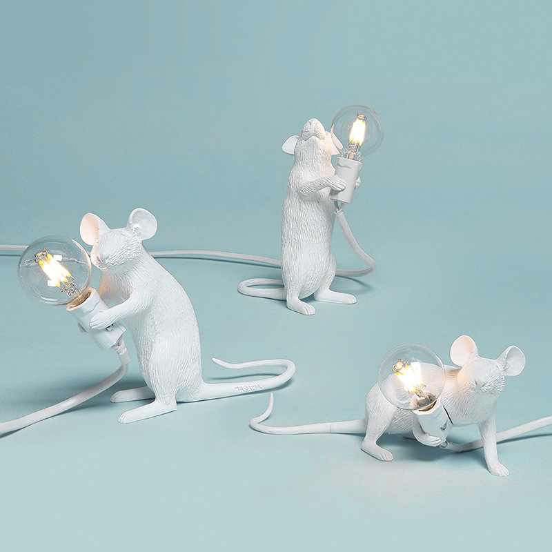 Creative Nordic LED Night Lights Rat Mouse Table Lamp Mini Mouse Desk Lights Resin Animal LED Lamp For Home Decor Bedside Lamp