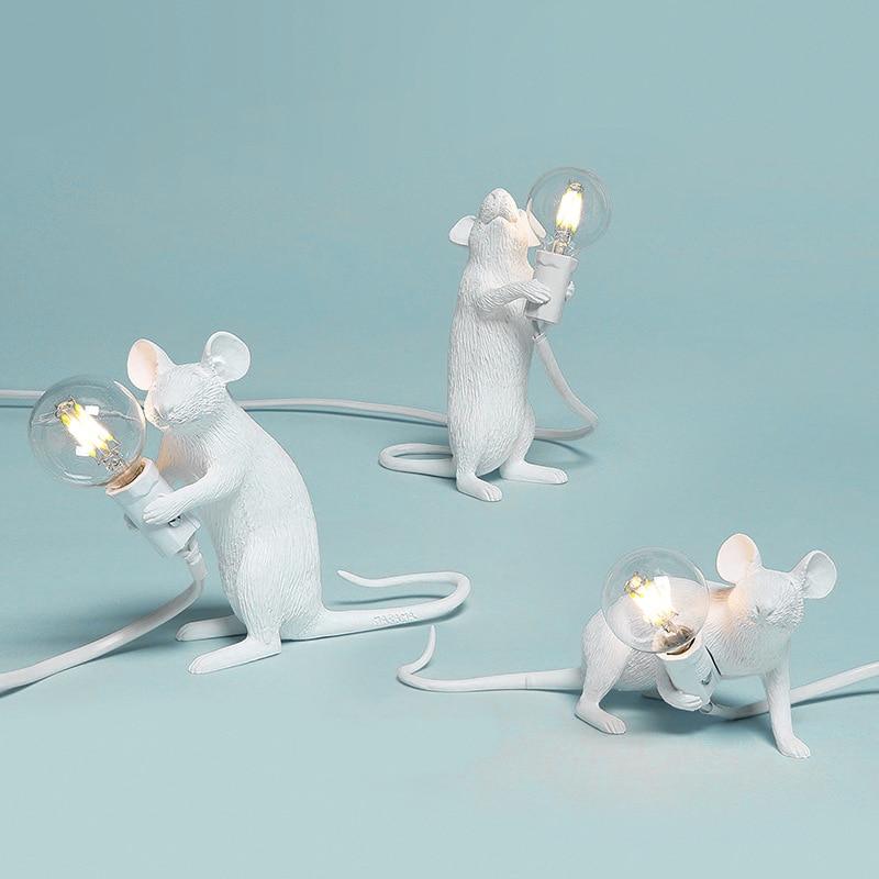 Creative Nordic LED Night Lights Rat Mouse Table Lamp Mini Mouse Desk Lights Resin Animal LED Lamp For Home Decor Bedside Lamp