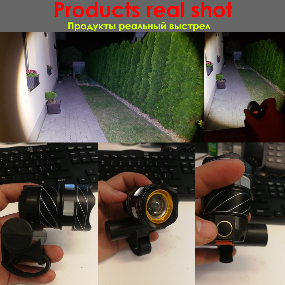 Zoom USB Rechargeable 15000LM T6 LED Riding Bicycle Front Head Light Rear Light
