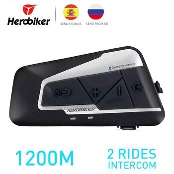 HEROBIKER 1200M BT Motorcycle Helmet Intercom Waterproof Wireless Bluetooth Moto Headset Interphone with FM Radio for 2 Rides