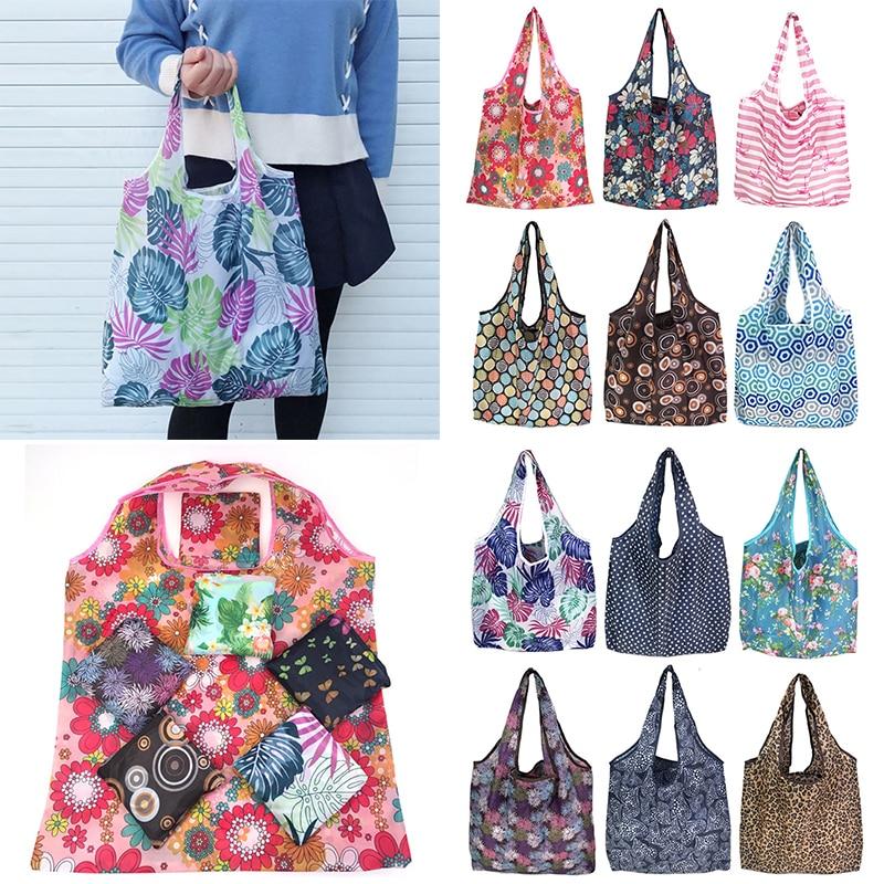 2019 New Boho Floral Printed Reusable Shopping Bag Large Folding Eco Environmental Shoulder Bag Tote Handbag Bolsa Reutilizable
