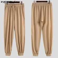 INCERUN Мужские штаны для бега с эластичной резинкой на талии, мешковатые винтажные спортивные штаны, одноцветные уличные Ретро повседневные брюки для мужчин размера плюс
