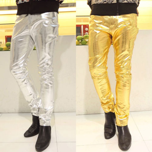 Goocheer New Men Skinny PU Leather Pants Shiny Silver Gold Pants Trousers Nightclub Fashion Stage Costumes Singers Dancer Male