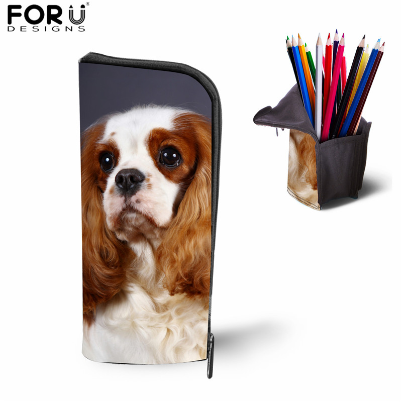 FORUDESIGNS Cavalier King Charles Spaniel Dog Print Makeup Bag For Girls School Pencil Cases Stationery Boxes School Suppliers
